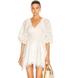 NICHOLAS Louise Embroidered Sleeve Dress Ivory